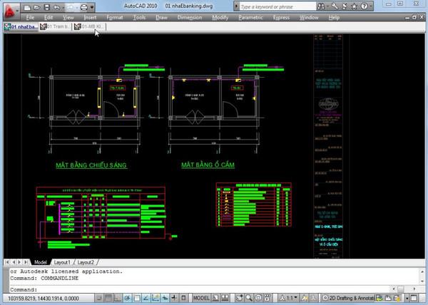 Giao diện 1 bản vẽ thiết kế của kỹ sư điện