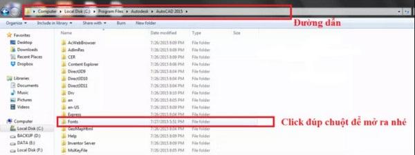 Copy file font Autocad full vào đường link như hướng dẫn