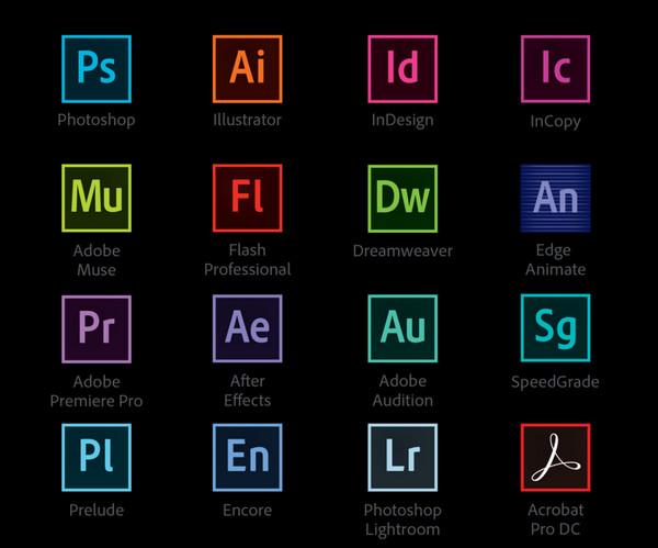 Các phần mềm trong gói Adobe CC