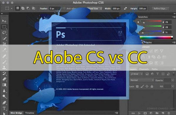 So sánh sự khác biệt giữa Adobe CC và Adobe CS