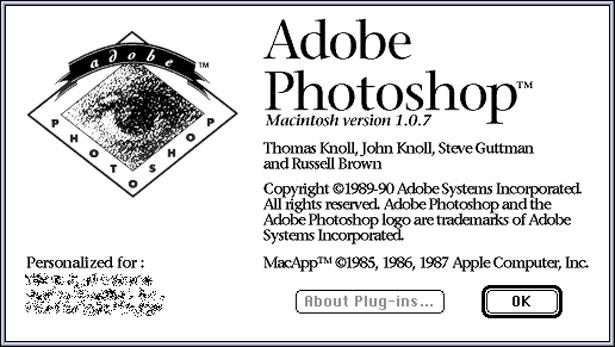 Giao diện phiên bản Photoshop đầu tiên