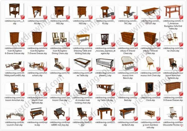thư viện bàn ghế sketchup